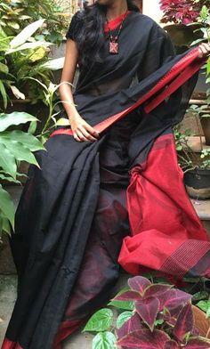 Handloom Black Linen saree