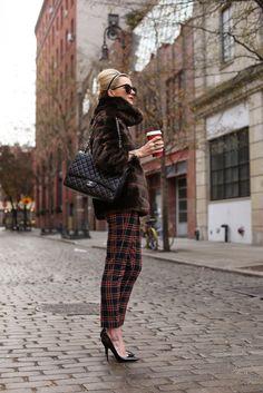 plaid pants with fur coat