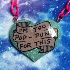 Soy demasiado Pop Punk para esta resina collar, Pastel Goth, Grunge suave, Tumblr, Kawaii