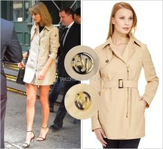 Leaving her apartment | New York City, NY | April 26, 2014 Armani Jeans 'Asymmetrical Zip Front Trench' - $495.00 I loved how chic and leggy Taylor looked here. An asymmetrical, short trench that she...