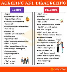 There are many different ways to express agreement and disagreement in an argument. Learn these common phrases for agreeing/ disagreeing with an opinion with ES English Prepositions, English Sentences, English Phrases, English Vocabulary, Teaching English Grammar, Spelling And Grammar, English Language Learning, Learn English Words, English Lessons