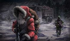 Santa has to move with the times. Merry Christmas everyone! Its Christmas Eve, Merry Christmas Everyone, The Night Before Christmas, Christmas Music, Dark Christmas, Merry Xmas, Cyberpunk, Military Memes, Military Art