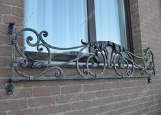 Wrought Iron Window Boxes, Wrought Iron Decor, Wrought Iron Fences, Door Gate Design, Railing Design, Iron Windows, Iron Doors, Metal Driveway Gates, Window Rods