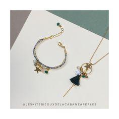 De nouvelles couleurs pour notre kit Plumette, c'est chouette. Un collier et un bracelet composé de breloques, de pompons.. si facile à porter et à offrir.