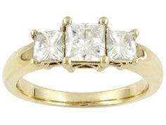 Moissanite Fire(Tm) 1.60ct Dew Square Brilliant, 14k Yellow Gold Over Sterling Silver Ring