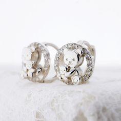 Sterling Silver Earrings Jewelry White New little Teddy Bear Gift for Children & Girl Pretty Cute Lovely Animal Special Mom's Love HEW0018 by HugMeAngel on Etsy https://www.etsy.com/listing/229399253/sterling-silver-earrings-jewelry-white
