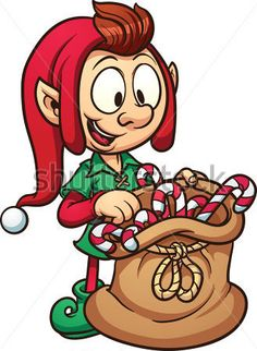 Lindo duende de Navidad con una bolsa que tiene bastones de navidad. ClipartLogo.com.