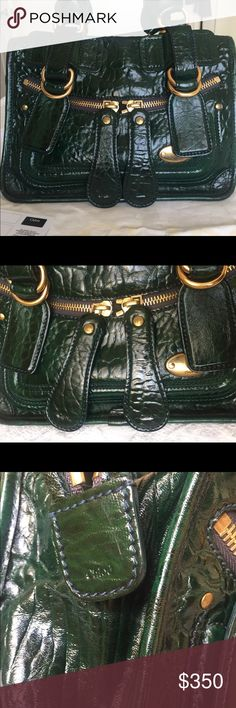 Chloe handbag croco green Pre owned . Good condition. Authentic Chloe Bags Satchels