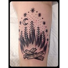 Bonfire // black & grey tattoo by Christian Lanouette