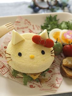 Hello Kitty English muffin sandwich