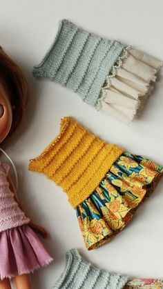 Knitted dress Crochet Bikini, Knit Crochet, Dress Patterns, Crochet Patterns, Little Cotton Rabbits, Doll Dresses, Knitted Dolls, Blythe Dolls, Knit Dress