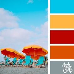 Bright beach colors // Summer Color Palettes // Click for more color schemes, mood boards and color combinations inspired by Summer at https://sarahrenaeclark.com #color #colorscheme #colorpalette
