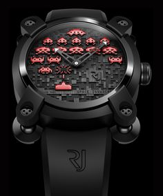 Space Invaders the most Sophisticated Way – The Romain Jerome Watch This limited series embraces two editions, a colorful version and a Super-LumiNova coated night view version. The Space Invaders battlefield is compiled of three layers of p. Romain Jerome, Space Invaders, Unusual Watches, Cool Watches, Watches For Men, Wrist Watches, Trendy Watches, Elegant Watches, G Shock