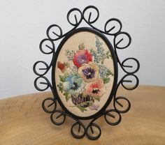 Pretty Vintage Embroidery Picture in Oval by GloryandtheCabinet