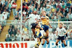Sweden 2 England 1 in 1992 in Solna. Carlton Palmer jumps with Joachim Bjorkland in Group A at Euro '92.