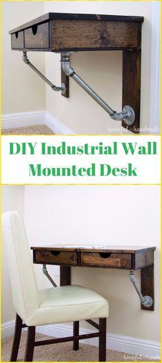 DIY Rustic Industrial Wall Mounted Desk Tutorial - DIY Wall Mounted Desk Free Plans & Instructions