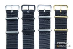 Black Premium NATO - 20mm - 20mm Straps - Width - Crown and Buckle