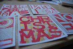Lino Printed Christmas Cards by Joseph Walsh, via Behance