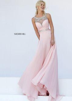 Sherri Hill 11320 Blush/Silver Charming Sleeveless Sheer Back Gown