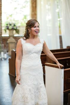 Our bride in awe of her church pews