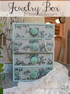 A little paint and some decoupage paper = Easy Jewelry Box Makeover!  All Things Heart and Home