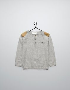 sweater with shoulder patches - Cardigans and sweaters - Baby boy (3-36 months) - Kids - ZARA