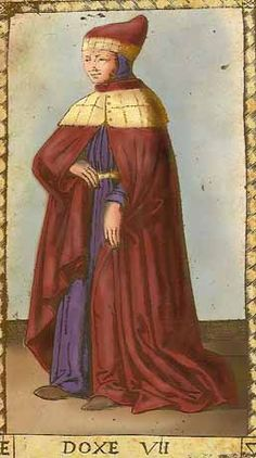 Doxe - VII of Mantegna Tarot:Doxe - VII Doge  The seventh card of the Mantegna Tarocchi hints to an origin in or around Venice, as the spelling 'doxe' was common only for the chief magistrate  & leader of the Most Serene Republic of Venice.