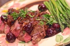Lamb, cherries, and mint partner for a quick, elegant meal. Flambe a splash of Creme de Cassis for depth of flavor in this easy to prepare sauce.