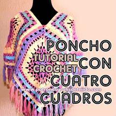 Ideas crochet poncho femme tuto for 2019 Crochet Poncho Patterns, Granny Square Crochet Pattern, Crochet Granny, Crochet Shawl, Crochet Lace, Free Crochet, Crochet Summer Tops, Crochet Videos, Crochet Clothes
