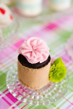 Set of 6  Toy Faux Pink Frosting Petit Fours by doughandbatter, $18.00