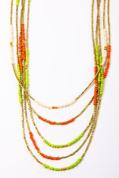 St. Tropez Graduated Necklace in lime, gold, and coral