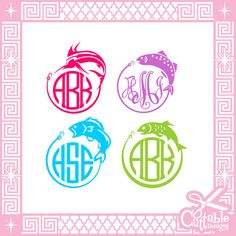 Fishing Monogram Frames Cut Files SVG by CuttableDesigns on Etsy