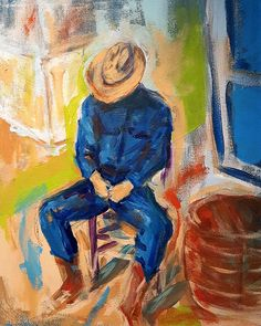This ole cowboy needed a break. The day was long and hot and the time for a quick nap had come. Boots and hat still on sleep came quick.  This is a beautifully crafted 11 x 17 print of an original painting of mine. I love the west, farms, families and everything that brings them together.