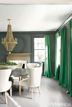 Kay Douglas, Designer, Veranda Mag [Need this paint color on walls and trim, also need the whitewashed gray paint noted in an article that covered these formerly brown oak floors.]