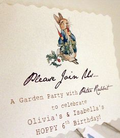 Peter Rabbit Birthday Party - invitation IMG_1076