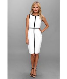 Calvin Klein Contrast Trim Lux Sheath Dress White/Black - Zappos.com Free Shipping BOTH Ways