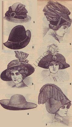 1910-1920 | История костюма Шляпы женские из разных материй, мода в России 1910-х годов