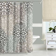 gray and beige shower curtain set with