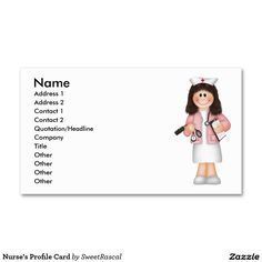 Nurse's Profile Card Double-Sided Standard Business Cards (Pack Of 100)