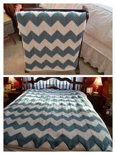 Corrina Lynn Ricke's Full/queen size Chevron afghan. She modified it from a baby blanket pattern at http://www.eatknitanddiy.com/2013/03/chevron-baby-blanket-with-a-straight-edge/. Corrina used 3 skeins each of Caron 1lb white and azure.