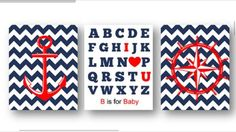 Baby Nursery signs decorations pictures Nautical Anchor Wheel ABC red white blue #Unbranded