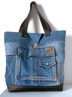 Tendance Sac 2017/ 2018 : sac cabas de créatrice en jean recyclé /collections : les poches /SOLEIL