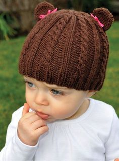 Cabled Teddy Hat (Free Knitting Pattern) This can also be made with a old sweater if you are not talented enough to Knit/crochet Baby Knitting Patterns, Baby Hats Knitting, Knitting For Kids, Free Knitting, Knitting Projects, Knitted Hats, Hat Patterns, Knit Or Crochet, Crochet Hat Patterns