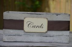 Rustic vintage old crate - wedding card holder box and cards sign. $30.00, via Etsy.