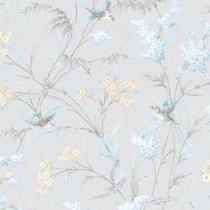 Rose birds wallpaper kitchen drawer organisers racks and hooks storage hailey grey & blue floral birds glitter highlight wallpaper Bathroom Wallpaper Birds, Glitter Wallpaper Bedroom, Hall Wallpaper, Kitchen Wallpaper, Grey Floral Wallpaper, Trendy Wallpaper, Feature Wall Bedroom, Motif Floral, Blue Wallpapers