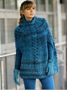 Crochet Poncho - Free Crochet Diagram - (ivyscreationscrochet.blogspot)