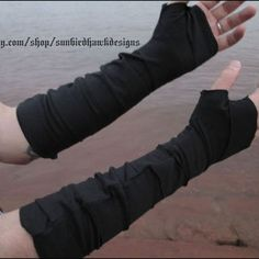 Black strapped wrist bracers, fingerless gloves, arm warmers, arm wraps, free US shipping! Cool Outfits, Fashion Outfits, Mens Fashion, Post Apocalyptic Fashion, Cyberpunk Fashion, Character Outfits, Costume Design, Arm Warmers, Character Inspiration