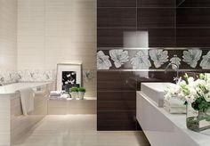 Ashen   Tubądzin ta jaśniejsza/cieplejsza płytka jest przyzwoita + dekor jasny w bardzo ograniczonym zakresie + mozaika - wyglądają przyzwoicie Metroid, Wabi Sabi, Alcove, Bathroom Lighting, Sweet Home, Bathtub, House, Furniture, Home Decor