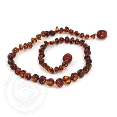 Baltic Baby Amber Necklace Rounded Beads- Cherry (S/M)