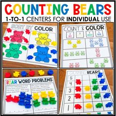 Feeling uneasy about prepping for next year?  Whether you are in the classroom or are teaching virtually, these 1:1 Counting Bears Centers will come in handy!  Each student will have his/her set of bears and mats, and they are good to go!  No cutting sets of games/centers for each student!  Engage your students at school and/or at home with our 1:1 centers! Counting Bears, Green Bear, Bear Ears, Stem Challenges, Simple Prints, Math Workshop, Printed Pages, Elementary Math, Word Problems